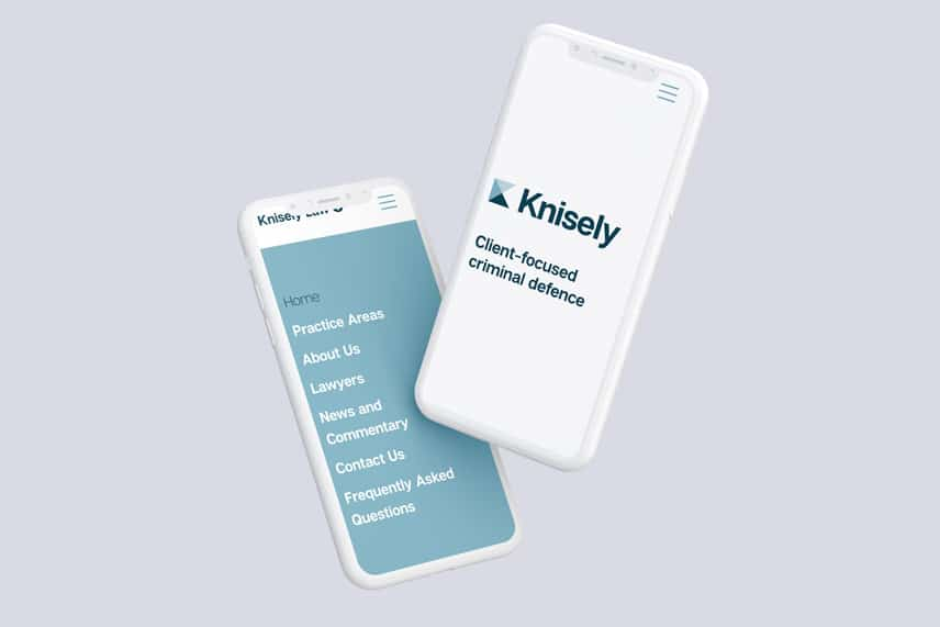 Knisely Law website on two smartphones