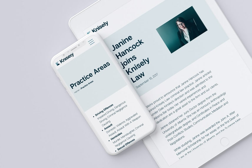 Knisely Law website on a smartphone and tablet.