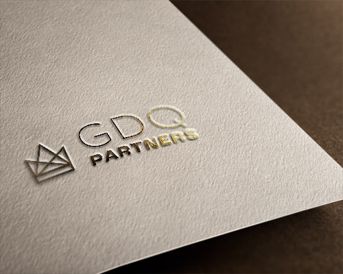 A fictional law firm logo embossed in gold leaf.