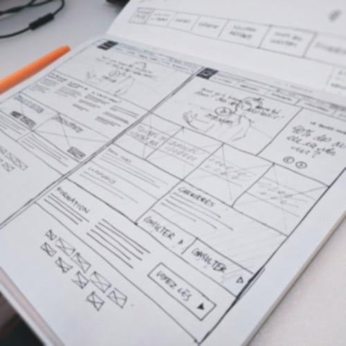 A sketch of a website design wireframes.